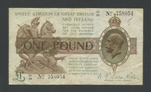 ENGLAND £1 Fisher 1923-7 KGV T31 about Fine Treasury Banknotes