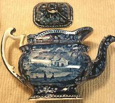 Lovely Dark Blue 3 Pagodas Transferware 19th Century Staffordshire Tea Pot