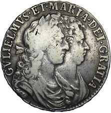 More details for 1689 halfcrown - william & mary british silver coin - nice