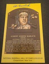 AL BARLICK SIGNED MLB HOF PLAQUE POSTCARD HOF UMPIRE W/COA+PROOF