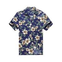 Made in Hawaii Men Aloha Shirt Luau Cruise Party Hibiscus Floral Green Leaf Blue