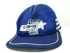 Vintage Ford 3 Stripe Mesh Back Hat Cap Trucks Convoy Blue Trucker Auto USA VTG