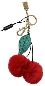 DOLCE & GABBANA Keychain Green Leather Red Сherry Fur Gold Clasp