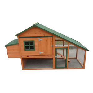 Large Pitch Roof  206*66*120cm Chicken Coop Hen house Chook Hutch Run Cage P029