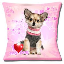 Chihuahua Puppy Dog Cushion Cover 16x16 inch 40cm Fawn Long Hair I Love My Dog