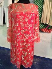 Richard Tam Vintage Lace Dress with Metallic Detail S