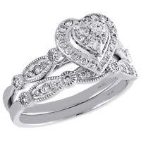 14K White Gold Diamond Bridal Set Heart Engagement Ring + Wedding Band 0.50 Ct.
