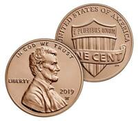 2019-W 1c Uncirculated Lincoln Shield Cent - One Coin