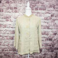 CITRON of Santa Monica Women's Silk Linen Blouse Beige Floral Size XS