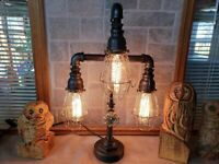 Handcrafted Industrial Pipe 3 bulb Retro style able,desk lamp on metal bush base