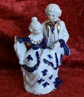 Porzellan Figur Paar Frau Mann Barockmotiv blau gold Kleid Mode 13x9x20 cm F-7
