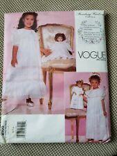 Sewing Pattern Vogue Strausberg Designer Flower Girl & Doll Dress Sz 6-8 Wedding