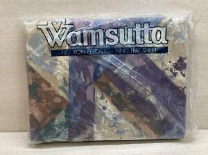 Vintage Wamsutta Textura Percale King Flat Sheet Geometric Purple New NIP USA