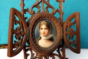 Fine Antique Painted Portrait Miniature Plaque Young Woman In Carved Strut Frame
