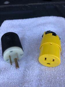 HUBBELL  125 volt male cord cap/  P&S Female cord plug in