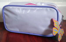 New Clinique Butterfly zip pull Glossy Laminate White w/ Lilac Trim Cosmetic Bag
