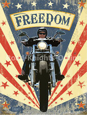 Vintage Garage Freedom Cruiser Motorbike Motorcycle Medium Metal Steel Wall Sign