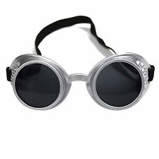 Steampunk Cybergoth Vintage Rave Cyber Goth Goggle Glasses - Silver / Black