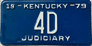 1979 Kentucky Judiciary American License Licence Number Plate Tag 4D