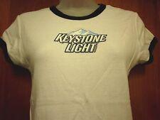 KEYSTONE LIGHT med ringer T shirt Coors beer Colorado juniors tee 1980s lager