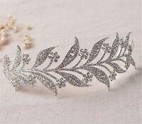 Women Rhinestone Crystal shine Silver LEAF Party Hair Band Headband Crown Tiara
