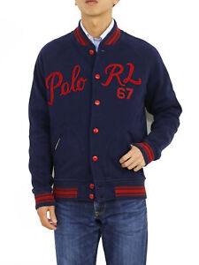 "Polo Ralph Lauren Button Up Embroider ""Polo RL"" Sweatshirt Jersey Jacket"