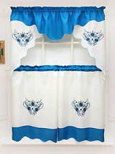 DAISY DREAM. 3pcs EMBROIDERY double valance kitchen curtain set. TURQUOISE color
