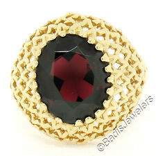 Vintage 14k Yellow Gold 3.74ct Oval Garnet Solitaire Open Work Dome Ring