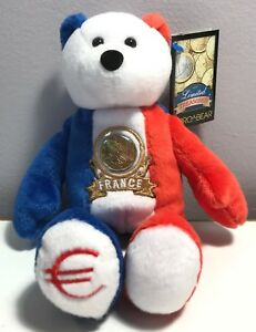 LIMITED TREASURES FRANCE EURO COIN RETIRED STUFFED PLUSH BEAR NEW