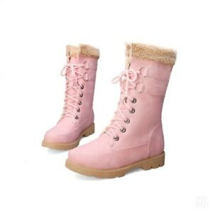 Women Winter Warm Boots Fleece Lined Ankle Shoes Flats Casual Snow Combat 34-43