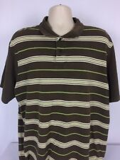 Haggar Mens 2XL XXL Short Sleeve Polo Shirt Brown White Green Stripe Cotton