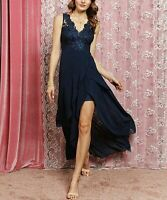 Maxi Long Dress Size 6 Ladies Sleeveless Navy Blue Layered Evening Gown