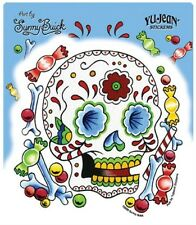 SUNNY BUICK - CANDY SUGAR SKULL STICKER - DAY OF THE DEAD TATTOO STICKER * NEW *