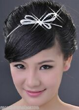 HAIR BAND TIARA PIN CLIP PROM RIBBON BOW Fascinator DIAMANTE CRYSTAL Bridesmaid