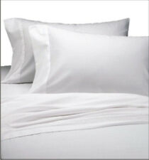 6 NEW BRIGHT WHITE FULL SIZE FLAT BED SHEETS T180 PERCALE HOTEL QUALITY