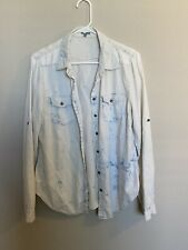 Charlotte Russe  Blue White Long  Sleeve Juniors Top Size XL Button Up Collar