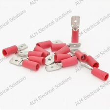 Red 6.3mm Male Spade Connectors - Lucar Push On Terminals - Pk 1000