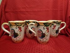 Fitz & Floyd NWOB Ricamo Portofino Rooster Coffee Mugs Set of 4 Kitchen Ware