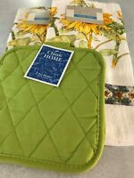 Classic Home 2 Kitchen Towels 2 Pot Holders Sunflower Floral Lime Green NEW