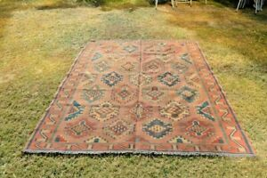 6 x 8.3 Feet Stunning Geometric Pattern Shirvan Caucsus Flat woven Handmade Rug
