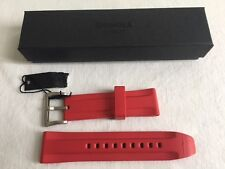 New Shinola 24mm Red Silicone Rubber Watch Strap Band Stainless Buckle
