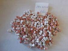 perle ancienne vintage lot de 100 perle ovale en verre blanc mitigé turquoise