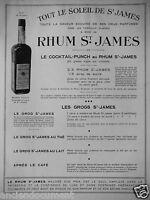 PUBLICITÉ DE PRESSE 1933 TOUT LE SOLEIL DE ST JAMES RHUM ST JAMES COCKTAIL-PUNCH