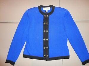 Vtg ST. JOHN Collection Women Knit Pant Suit Blue Black Trim Jacket & Pants Sz 2