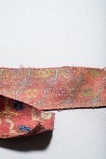 Extraordinary Early Antique 16th C. Mughal India Silk Gold Textile Fragment
