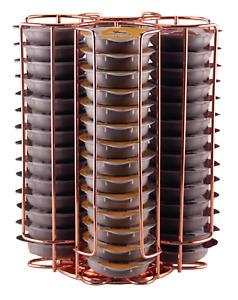 Tassimo Pod Holder - 52 Pod Holder - Rotating Wire Rack - Metal Rose Gold/Copper