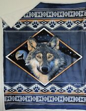 Wolf Ridge Double Layered Reversible Super Soft Throw Blanket Wall Decor Blue