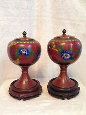 """Pair of Antique 19c. Chinese Cloisonné Red Jars Lid Vases 9.5"""" Mahogany Stands"""