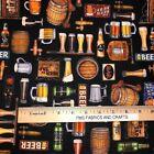 QT On Tap Beer Mugs Motifs 100% cotton fabric by the yard 36 x 44 28419 J Black