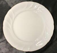 "MIKASA WEDDING BAND GOLD #L9709 DINNER PLATE 10.5""  SWIRLED WHITE GOLD TRIM EUC"